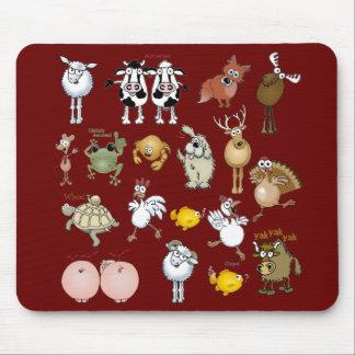 Animales del dibujo animado en un cojín de ratón alfombrilla de raton
