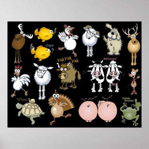 Animales del dibujo animado en un poster