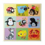 animales del dibujo animado para los niños azulejo cerámica