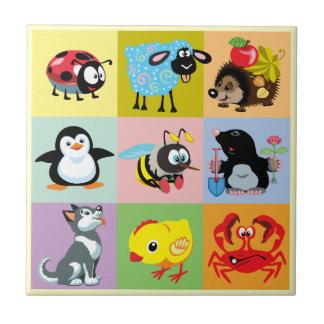 animales del dibujo animado para los niños azulejo cuadrado pequeño
