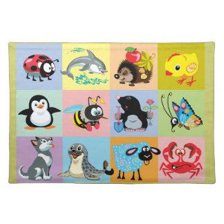 animales del dibujo animado para los niños mantel