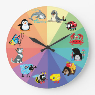 animales del dibujo animado para los niños reloj redondo grande