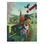 animales del dibujo animado que disfrutan de un postal