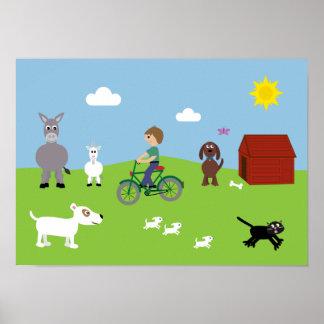 Animales del dibujo animado y poster lindos de la