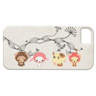 animales del kawaii en el papel viejo arrugado vin iPhone 5 carcasa