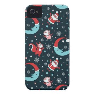 Animales del navidad y pequeño modelo de Santa iPhone 4 Funda