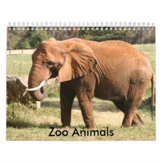 Animales del parque zoológico calendario