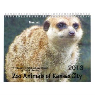 Animales del parque zoológico de Kansas City Calendario De Pared