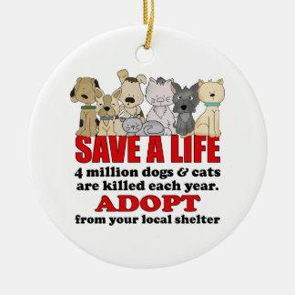 Animales del rescate adorno navideño redondo de cerámica