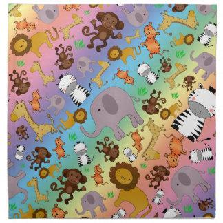 Animales del safari de selva del arco iris servilletas imprimidas