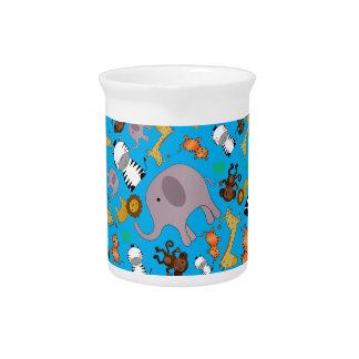 Animales del safari de selva del azul de cielo jarras de beber
