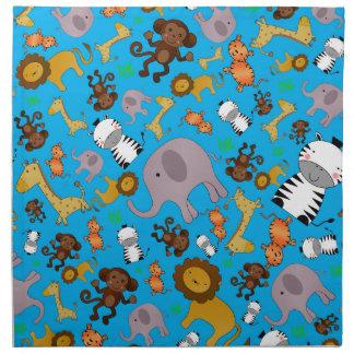 Animales del safari de selva del azul de cielo servilleta imprimida