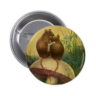 Animales del vintage, amor y ratones de campo del pin redondo de 2 pulgadas
