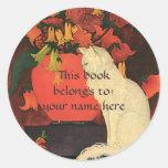 Animales del vintage, Bookplate blanco elegante de Etiquetas Redondas