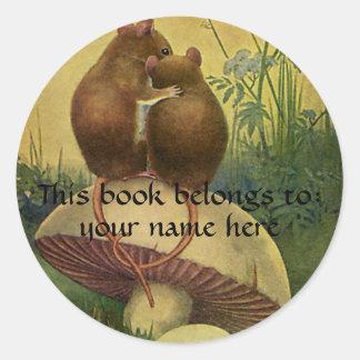 Animales del vintage, Bookplate de los ratones de Pegatina Redonda