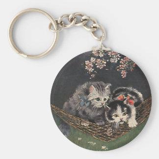 Animales del vintage, gato de Tabby o gatitos en Llavero Redondo Tipo Pin