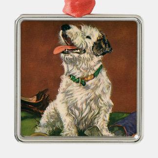 Animales del vintage, perrito lindo de Terrier que Adorno Cuadrado Plateado