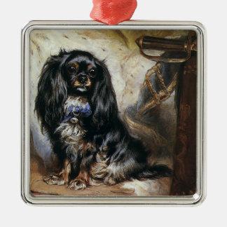 Animales del vintage, perro casero negro del perro adorno cuadrado plateado