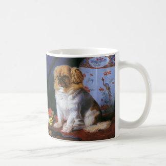 Animales del vintage, perro de perrito de taza de café