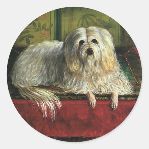Animales del vintage, perros, perro pastor lanudo pegatinas redondas