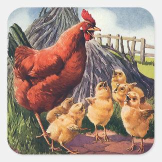 Animales del vintage, pollo con los polluelos del pegatina cuadrada