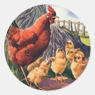 Animales del vintage, pollo con los polluelos del pegatina redonda