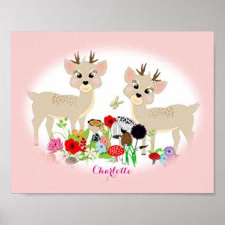 Animales dulces y flores del arbolado póster