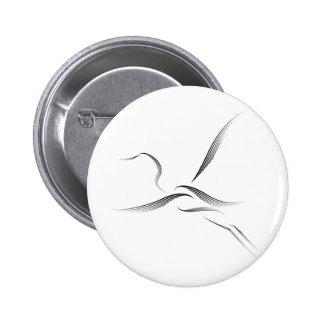 Animales - Egret Pin Redondo 5 Cm