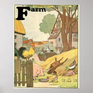Animales en el guión de ABCs de la granja Impresiones