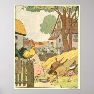 Animales en el guión de la granja posters