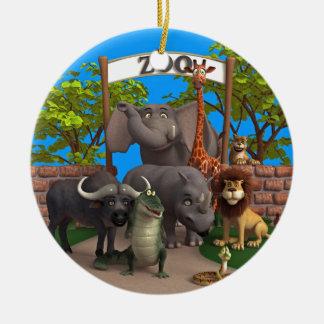 Animales en el parque zoológico adorno navideño redondo de cerámica