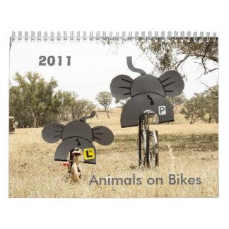Animales en elefante del calendario de las bicis
