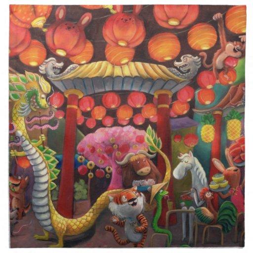 Animales en la ciudad de China Servilleta