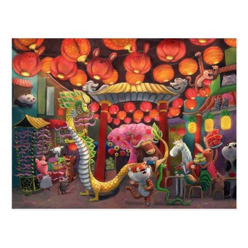 Animales en la ciudad de China Tarjetas Postales