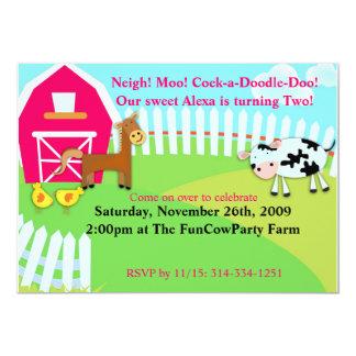 Animales en la granja - la fiesta de cumpleaños invitación 12,7 x 17,8 cm