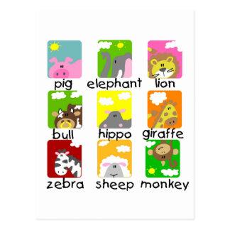 Animales en las camisetas y los regalos del postales