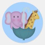 Animales en pegatinas de un paraguas