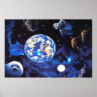 Animales en poster del espacio