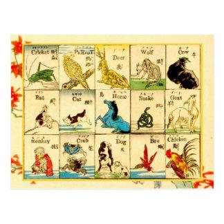 Animales etiquetados en japonés y inglés tarjetas postales