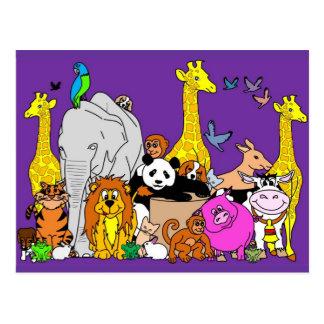 Animales felices postal