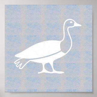 Animales gráficos de los pescados de los pájaros póster