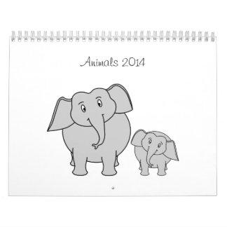 Animales lindos 2014 del dibujo animado calendarios de pared