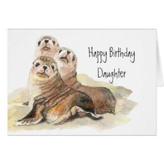 Animales lindos de la acuarela del cumpleaños de l felicitacion
