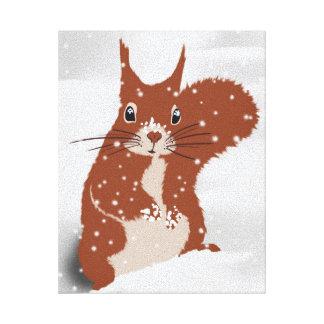 Animales lindos de la nieve del invierno del lienzo envuelto para galerias