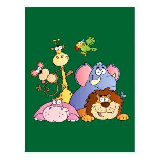 Animales lindos de la selva del dibujo animado postal