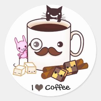 Animales lindos de la taza y del kawaii de café pegatinas redondas