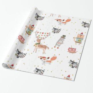 Animales lindos del arbolado del navidad papel de regalo
