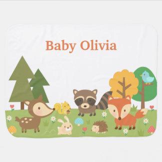 Animales lindos del bosque del arbolado para los mantita para bebé