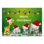Animales lindos del safari en tarjeta de Navidad
