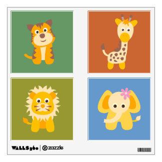 Animales lindos del safari fijados de etiquetas de vinilo adhesivo